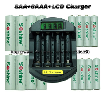 Free shipping 8AA+8AAA  2600mAh 1000mAh 1.2V NI-MH Rechargeable Battery +LCD Charger
