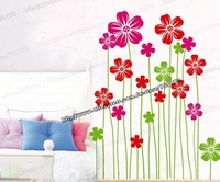 DIY Home Deco Spring Flower PVC Wall Sticker, Removable and Waterproof Wallpaper Vinyl