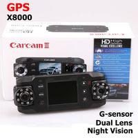 X8000 Car DVR camera Video Recorder GPS logger and G-Sensor Double Cameras Night vision wide angle car registrator Free shipping