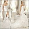 Mermaid/Trumpet Strapless Organza Wedding Dress 2013 With Ruffle Train DAVINIA W-037 Free Shipping