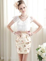 Nice quality ladies' summer dress 2014 sleeveless with flower print fashion women clothing, size S, M, L