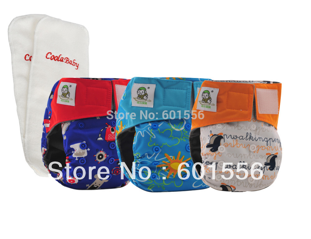 Free shipping ! 8 Coolababy Bamboo Charcoal Baby Waterproof Cloth Diaper Adjustable Nappies with inner gusset + 8 inserts(China (Mainland))