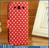 Stand Flip Leather Case For Samsung Galaxy S3 i9300 Polka Dot Leather Case Flip Cover