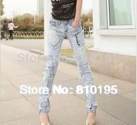2014 hot sale women Ragged beggar jeans women mosaic feet jeans wholesale
