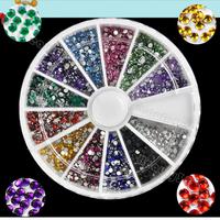 2014 New 1.5mm 2000 Nail Art Rhinestone Glitter Tip Mix Gems Wholesale 4056