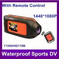 Full hd 1080p sports camera ,sport dvr ,waterproof dvr cameras,portable dvr with Remote control HD119/T1000