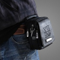 HOT!free shipping fashion PU leather men's new casual and sports waist bag  pack small handbag shoulder bag