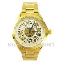 Luxury Skeleton Mechanical Skeleton Watch Mens Mechanical Gold Watch men's golden Steel ladies quartz watch M488W free shipping