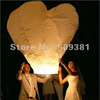 20 pcs/Lot, Free Shipping, Hearted-Shaped Chinese Conventional  Festival Flying Sky Lanterns, Big Size Lanterns, White