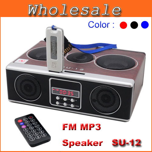 Fashion High Quality Mini Sound Box MP3 Player Mobile Speaker Boombox With FM Radio SD Card Reader USB Loudspeakers SU12 Black