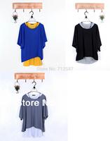 free shipping Fashion Women's Leisure Loose Bat Vest + T-Shirt 2Pcs Set 3 colors #5127