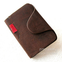 Whole cowhide genuine leather practical card bag Free shipping 1014
