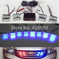 FREE SHIPPING  LED Fire Emergency Strobe Warning Lights  BLUE  3 Flashing Mode 8*3LED