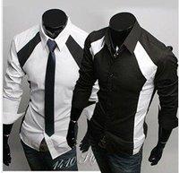 New men's Casual Luxury Stylish Slim Long Sleeve Shirts 3 sizes M L XL white black free shipping