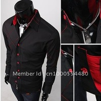 Casual Slim Fit Stylish Polyester and cotton Men's Long Sleeve dress shirts Luxury Black Wholesale Free Shipping