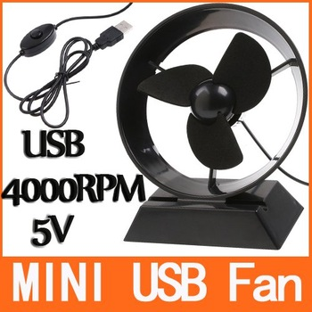 Mini Portable Super Mute USB Cooler Cooling Desk Fan for Laptop PC Black H8368B bb
