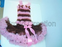 Retail 1 set baby girl clothing set,Pettiskirt set,chiffon top+brown pettiskirt with pink ruffle