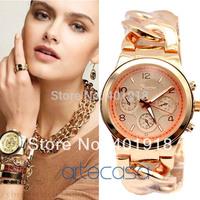 New Arrival,Top Quality Japan Movements,Geneva Branded Cowboy Chain Wristband Fashion Women Quartz Wrist Watch