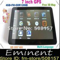 Free shipping 7inch GPS Navigation,FM Transmitter,MTK480MHz,Built in DDR128MB,Wince 6.0,800*480,load 3D map,Car GPS Navigation