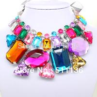 2013 New arrival Romantic Big Arcylic Choker Statement necklaces fashion Collar Ribbon jewelry KK-SC108 Free shipping retail