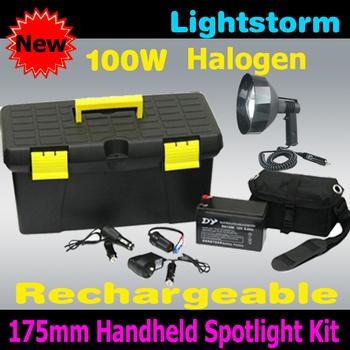 Best Quality&Super Bright! 175mm/7'' 100W  halogen 12V 7Ah Lead Acid, 100w halogen handheld spotlight,flashlight torch