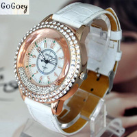Fashion Young Women Quartz Watch Leather Jewelry Watches Casual Rhinestone Crystal Lady Wristwatches New 2014