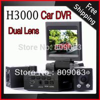 Dual Lens Car Black Box H3000 Car DVR with 270 Degree Rotatable Dual Lens, 2.0 inch Screen, Night Vision Dash Cam Car Camcorder