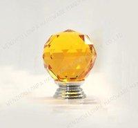 6Pcs/Lot Decorative K9 Orange Crystal Glass Chrome Cabinet Knobs And Handle(Diameter: 30MM Color:Orange)