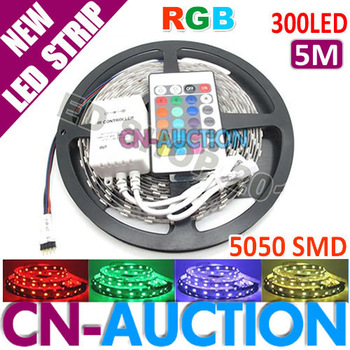 FREE SHIPPING! 5M 5050 SMD Non-Waterproof RGB LED Strip 300 LEDs SMD 60leds/m Flexible LED Strip+24 key IR Remote (CN-LS49)