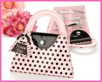 Pink Polka Dot Purse Manicure Set favor 40PCS/LOT wedding bridal shower favors and gifts+Free shipping