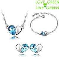 Jewelry Sets 2014 Free Shipping fashion brand hotselling 18K GP Austria Crystal Heart Pendant necklace earrings bracelet women