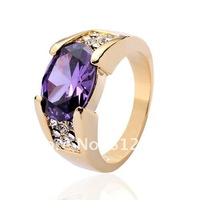 Size  9/10/11 Hansome 10KT Yellow Gold Filled Purple Amethyst Solitare band Ring for Men gift