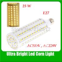 Free Shipping  E27 25W 132 LEDs 5050 Led AC 110 or 220V Corn Light Super Light Led Bulb YM0043