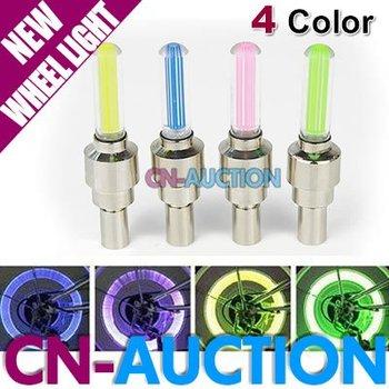 FREE SHIPPING! Bicycle Car Valve Caps Light Tyre Wheel Light Neon LED Lamp 4 colors choice 10pcs/lot (CN-LCL56) [CN-Auction]