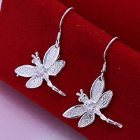 Hot Sale!!Free Shipping 925 Silver Earring,Fashion Sterling Silver Jewelry Dragonfly With Stone Earrings SMTE009