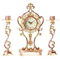 Exquisite European Desk Table Clocks  Antique Desk Clock With Candlesticks