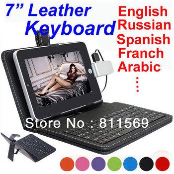 "7"" Leather case keyboard USB HOST,MINI or Micro with Russian,Portuguese,Turkish,Arabic ,Italian ,German, English ect"