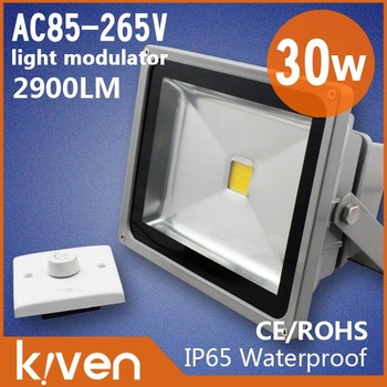 KIVEN lighting 10w /20w  /30w / 50W led floodlights dimmable and distribution dimmer switch 2 years warranty free shipping