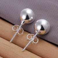 Hot Sale!!Free Shipping 925 Silver Earring,Fashion Sterling Silver Jewelry 8mm Bead Earrings SMTE073
