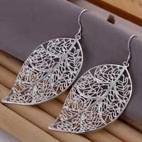 Hot Sale!!Free Shipping 925 Silver Earring,Fashion Sterling Silver Jewelry Fashion Leaf Earrings SMTE128