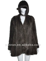 Free shipping YR-755 NEW STYLE women hand knit real rex rabbit fur Jacket~wholesale~Factory direct sale