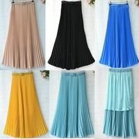 Hot selling the female fashion skirts khaki/yellow/pink/red maxi skirts women pleated long skirt 2013