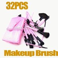 Free Shipping Drop Shipping 2014 Christmas gift 32pcs professional makeup brush set Kit with Pink  Bag Case 1set/lot