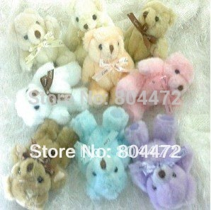 Free Shipping Plush Toy Keycain Teddy Bear 9 colors 13 cm in length also can use as mobile chain Wholesale 100 PCS/LOT,0393