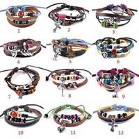 Wholesale 12Pcs NEW Punk Style Leather Braided Hemp Surfer Belt Bracelet Wristband Cuff Bangle
