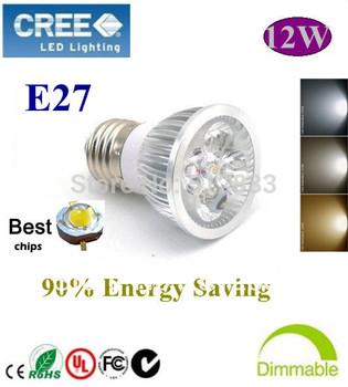 5pcs/lot  Home Garden High Power E27 12W dimmable LED lighting Spotlight  led bulbs led lamp 85-265V  free shipping