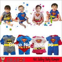 Top selling new hot cartoon 100% cotton batman baby boy rompers cute super man baby girl romper