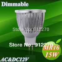 10pcs/lot MR16 Dimmable AC&DC12V 5x3W 15W  High Power Energy Saving LED Light LED Spotlight LED Downlight