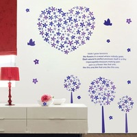 Free shipping wall sticker,home decoration,living room sticker,10pcs mixed,60*90CM Purple Pandora tree stickers,XY1009