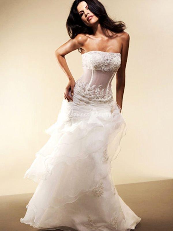 Modern Casual Wedding Dress : Custom handmade top quality modern casual beaded cascading ruffles